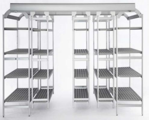 Shelving | Trolleys - Overhead sliding shelving and Aluminum Shelves