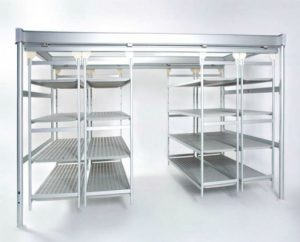 italmodular Shelving | Trolleys - Overhead sliding shelving and Aluminum Shelves