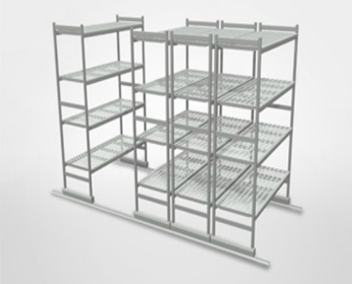 Shelving | Trolleys - Floor sliding shelving and Aluminum Shelves
