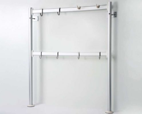 Hooked bars with meat hanging hooks commercial shelving Italmodular
