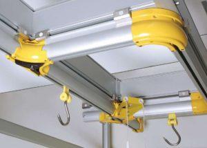 Overhead rail system Italmodula commercial shelving