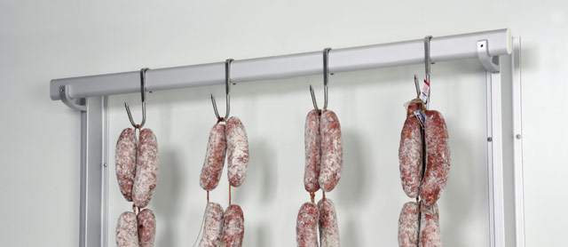 Hooked bars with meat hanging hooks