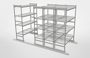 Floor sliding shelving - Adjustable metal shelving and Aluminum Shelves
