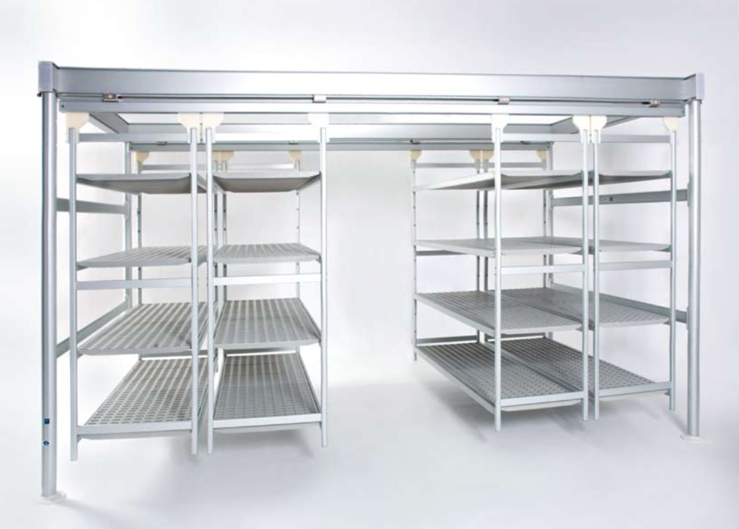 Overhead sliding shelving and Food storage shelves