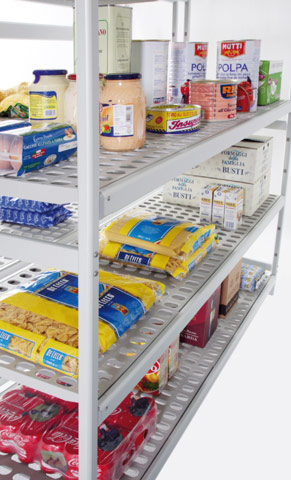 Overhead sliding shelving and Food storage shelves