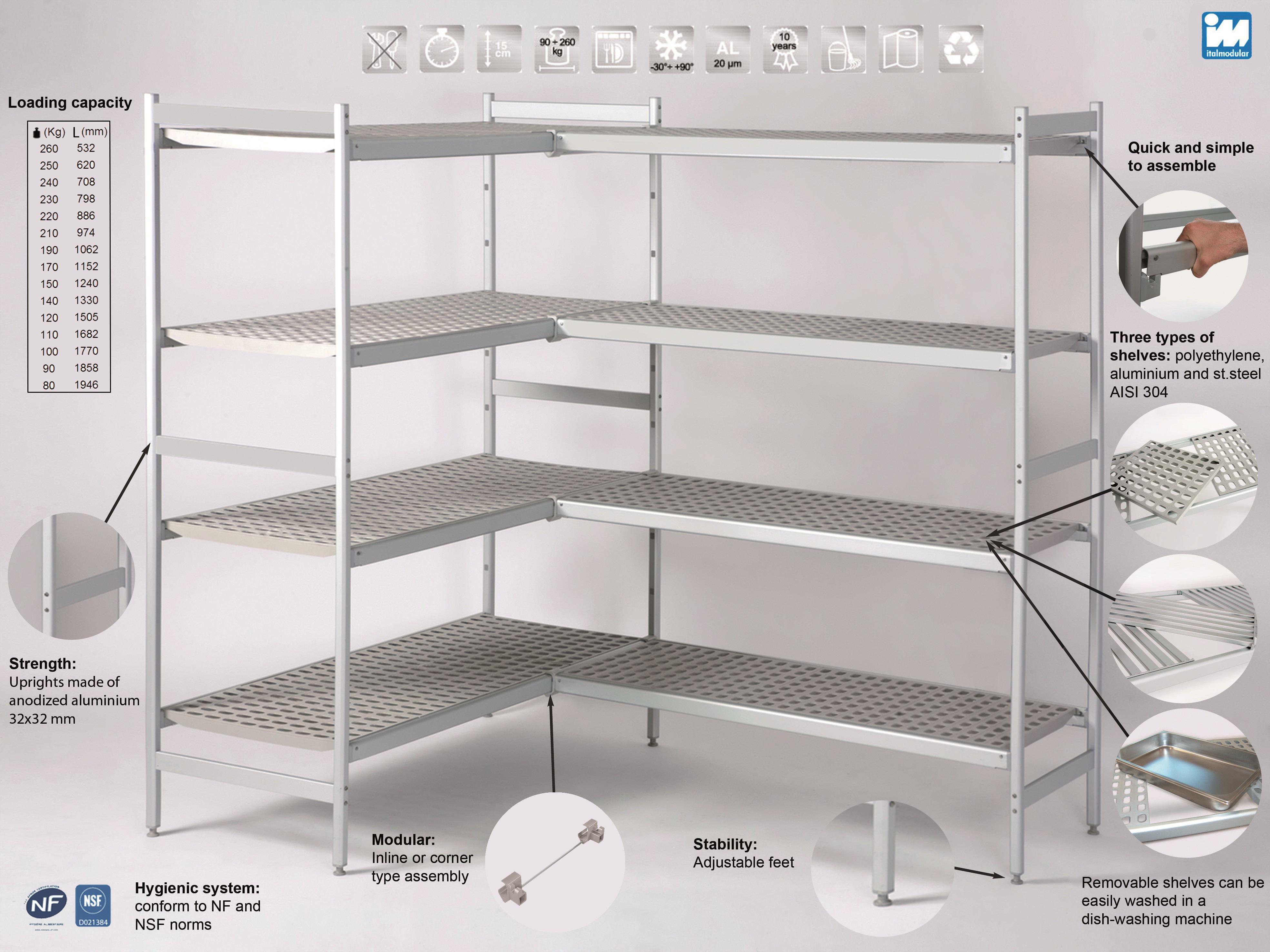 Стеллажи для холодильных камер Italmodular