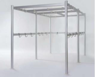 barras con ganchos para carnicerías y cocinas