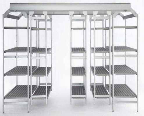 Shelving | Trolleys - Overhead sliding shelving and Aluminum Shelves