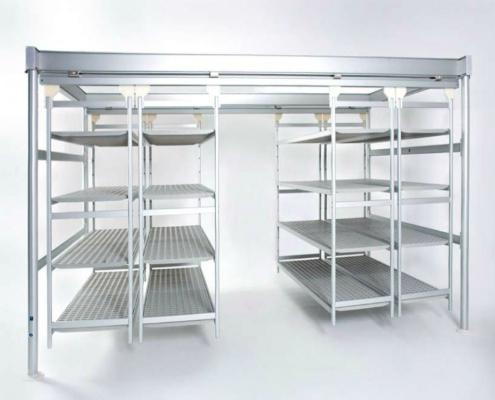 italmodular Shelving | Trolleys - Overhead sliding shelving and Aluminum Shelves
