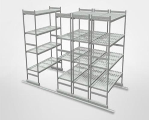 Shelving | Trolleys - Floor sliding shelving and Aluminum Shelves